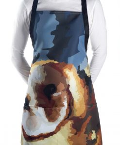 Model wearing our barn owl apron