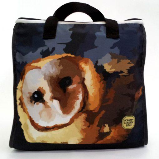 Barn owl zip top tote bag