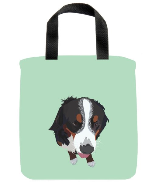 bernese-mountain-dog-mini-tote-blue-recycled-materials-lunch-bag-sustainable
