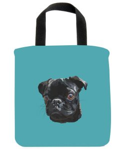 Black-Pug-Mini-Tote-Bag-Made -From-Recycled-Materials