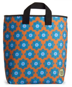 Blue flowers in a pattern on orange background