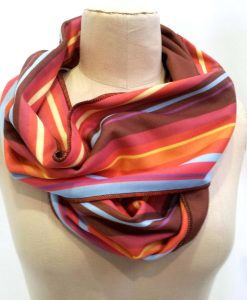 Burgundy stripe infinity scarf on mannequin