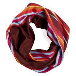 Circle view of burgundy striped infinity scarf