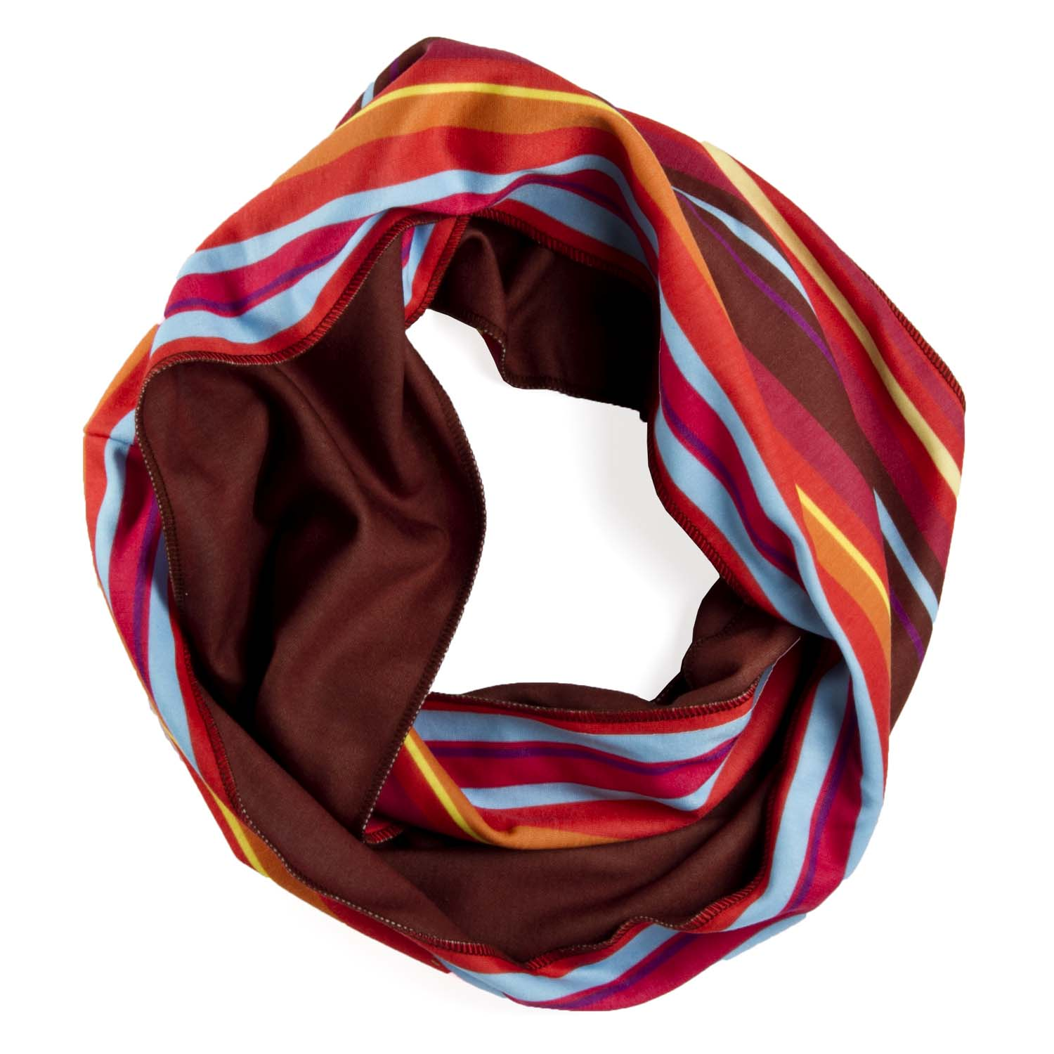 An infinity scarf provides versatility in both fashion and function. When worn closely to the neck, this yarn provides warmth, and the more loops around the neck, the warmer it will become. An Infinity scarf can be worn in a variety of ways.
