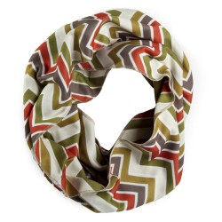 Circle view of our cream colored zig zag patterned infinity scarf