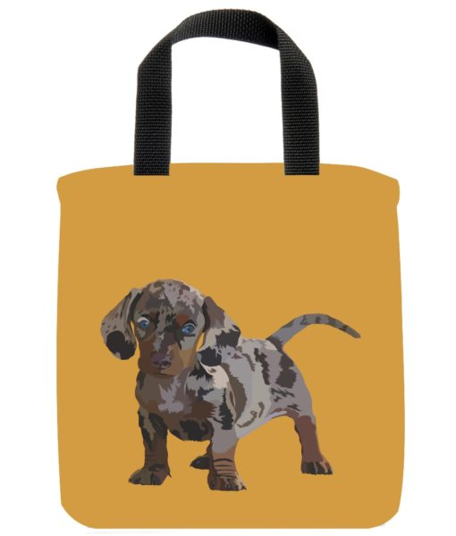 dapple-dachshund-dog-mini-tote-gold-recycled-materials-lunch-bag-sustainble