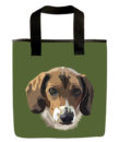 Green beagle dog grocery bag