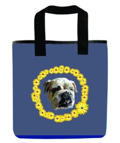 dog-english-bulldog-dog-blue-recycled-washable-reuseable-grocery-bag
