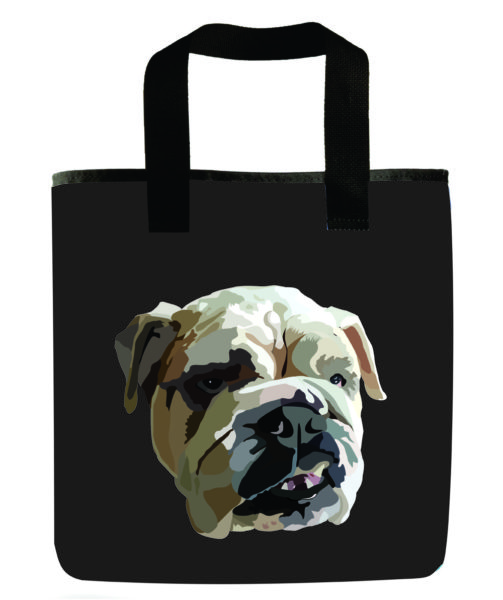 dog-english-bulldog-dog-gray-recycled-reuseable-grocery-bag-washable