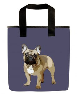 Lilac french bulldog grocery bag