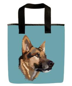 Blue german shepard dog grocery bag