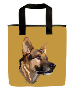 Gold german shepard dog grocery bag