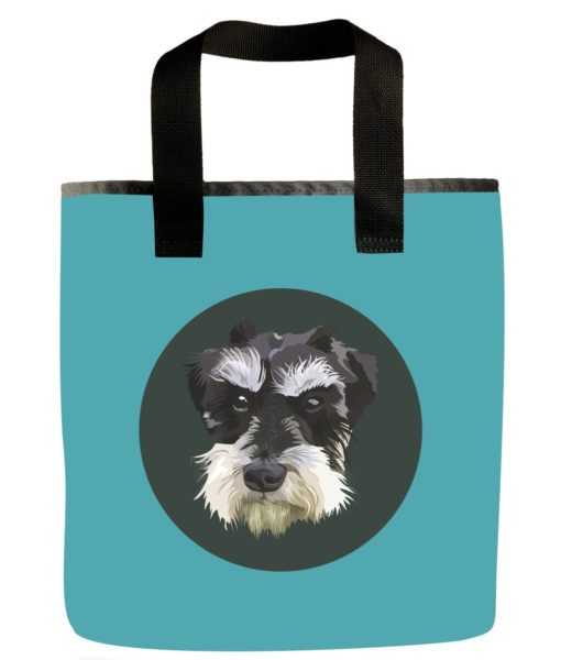 dog-mini-schnauzer- blue-recycled-materials-washable-grocery-bag