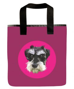 dog-mini-schnauzer- pink-recycled-materials-washable-grocery-bag