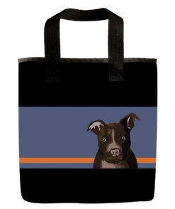Chocolate pit bull dog grocery bag