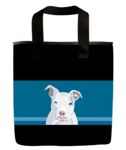White pit bull dog grocery bag