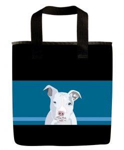 White pit bull dog grocery bag