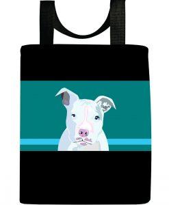 White pit bull tote bag