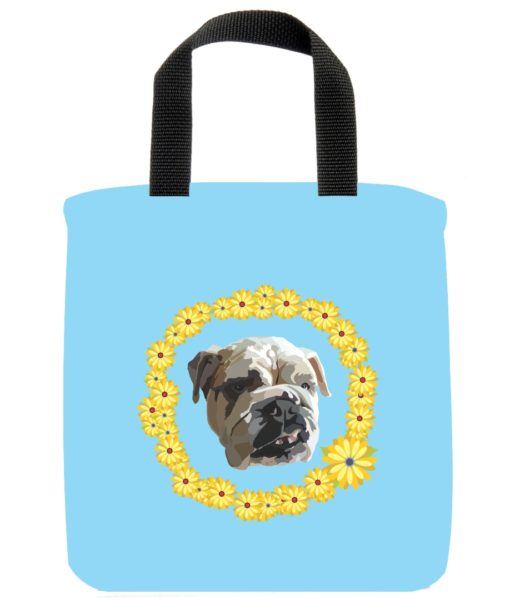 english-bulldog-dog-mini-tote-light-blue-recycled-materials-lunch-bag-sustainable