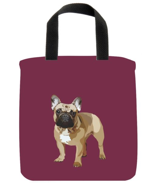 french-bulldog-dog-mini-tote-burgundy-recycled-materials-lunch-bag-sustainable