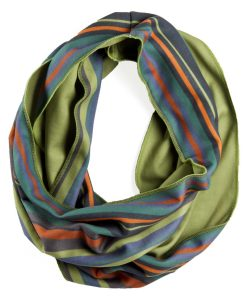 Circle view of green orange and blue striped infinity scarf