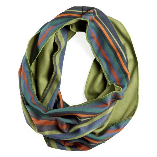 Green orange and blue stripe infinity scarf