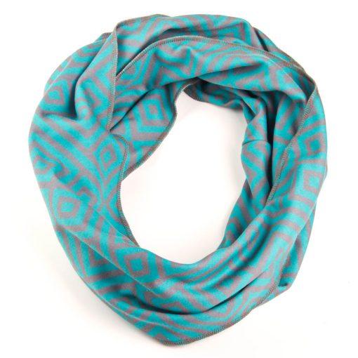 infinity-scarf-aqua-gray-geometric-tapestry-pattern-modern-chic-cool-fun