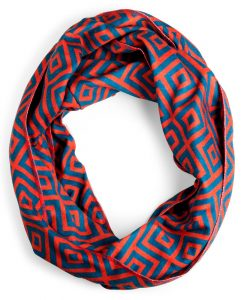 read and teal infinity scarf