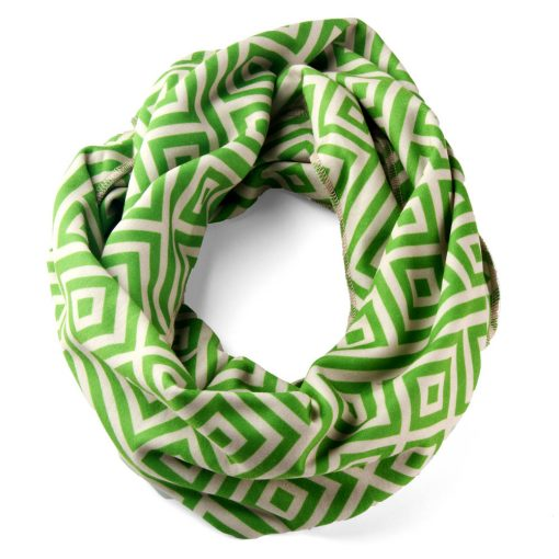 infinity-scarf-green-cream-geometric-tapestry-pattern-moden-clean-chic-sophisticated-cool-fun-machine-washable-american-made-ecofriendly