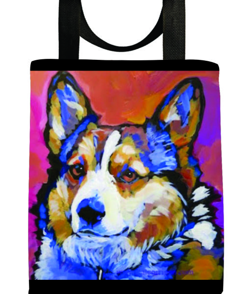 kat-corrigan-dog-portraits-tote-bag-eco-corrgie- dogs-canine-artist-seriesA