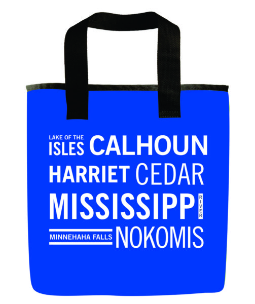 minneapolis-minnesota-lakes-calhoun-harriet-lake-oh-the-isles-mississippi-minihaha-nokomis-bright-blue-recycled-materials-washable-grocery-bag