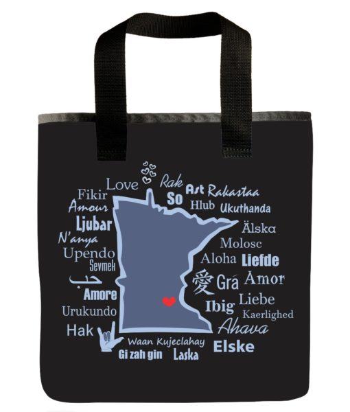 minnesota-state-one-love-languages-blue-eco-goods-scrappy-products-grocery-bag