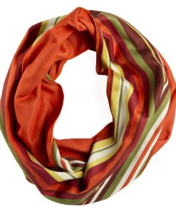 Circle view of orange yellow and green striped infinity scarf