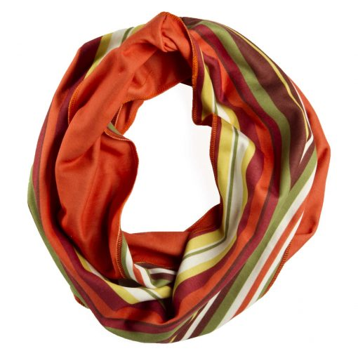 Orange yellow and green stripe infinity scarf-infinity-scarf-spscaoran01
