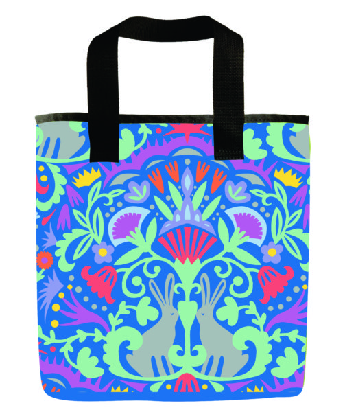 pattern-rabbits-bunny-emily-dyer-blue-pink-spring-recycled-materials-washable-grocery-bag