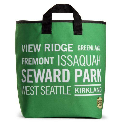 Seattle neighborhood names on green background