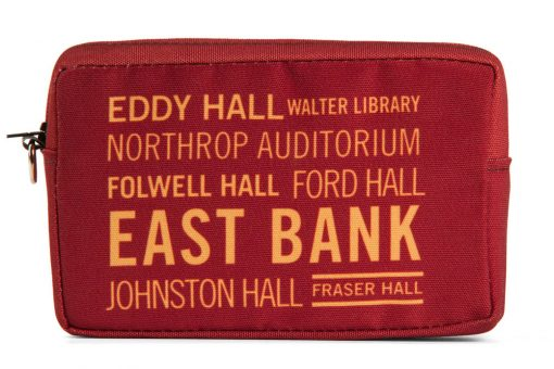 utility-cosmetic-bag-recycled-materials-east-bank-university-of-minnesota-johnston-hall-comstock-northrup-auditorium-coffman-memorial-union-ford-hall
